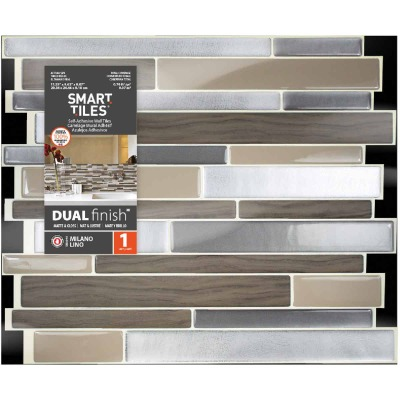 Smart Tiles 9.63 In. x 11.55 In. Glass-Like Plastic Backsplash Peel & Stick, Milano Lino Mosaic