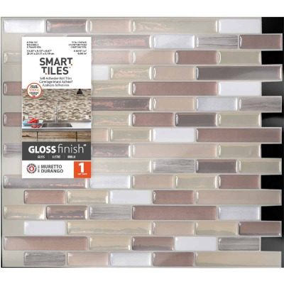Smart Tiles 10.2 In. x 10.2 In. Glass-Like Plastic Backsplash Peel & Stick, Muretto Durango Mosaic