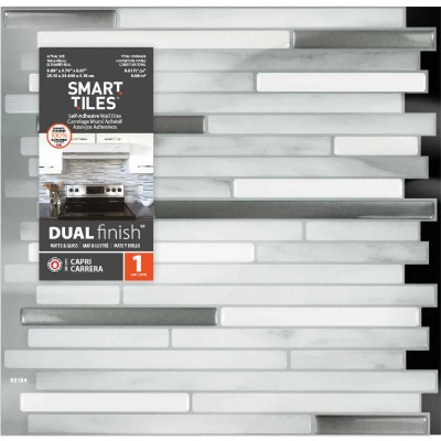 Smart Tiles 9.7 In. x 9.88 In. Glass-Like Plastic Backsplash Peel & Stick, Capri Carrera Mosaic