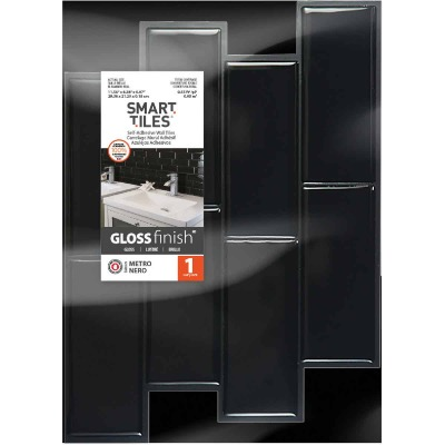 Smart Tiles 8.83 In. x 11.56 In. Glass-Like Plastic Backsplash Peel & Stick, Metro Nero Subway Tile
