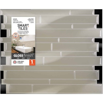 Smart Tiles 9.63 In. x 11.55 In. Glass-Like Plastic Backsplash Peel & Stick, Milano Taupe Mosaic