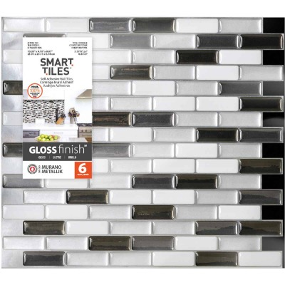 Smart Tiles 9.1 In. x 10.20 In. Glass-Like Plastic Backsplash Peel & Stick, Murano Metallik Mosaic (6-Pack)