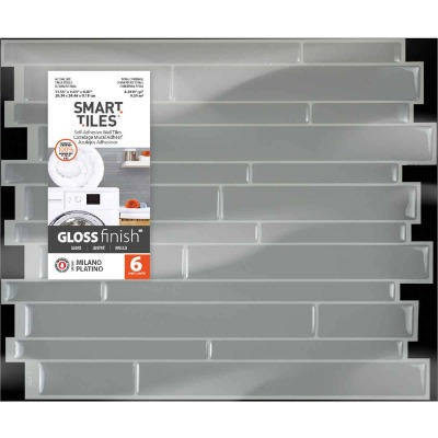 Smart Tiles 9.63 In. x 11.55 In. Glass-Like Plastic Backsplash Peel & Stick, Milano Platino Mosaic (6-Pack)