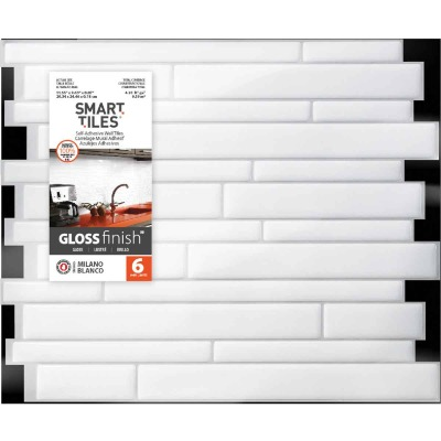 Smart Tiles 9.63 In. x 11.55 In. Glass-Like Plastic Backsplash Peel & Stick, Milano Blanco Mosaic (6-Pack)