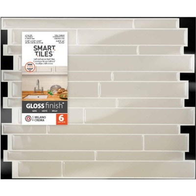 Smart Tiles 9.63 In. x 11.55 In. Glass-Like Plastic Backsplash Peel & Stick, Milano Crema Mosaic (6-Pack)