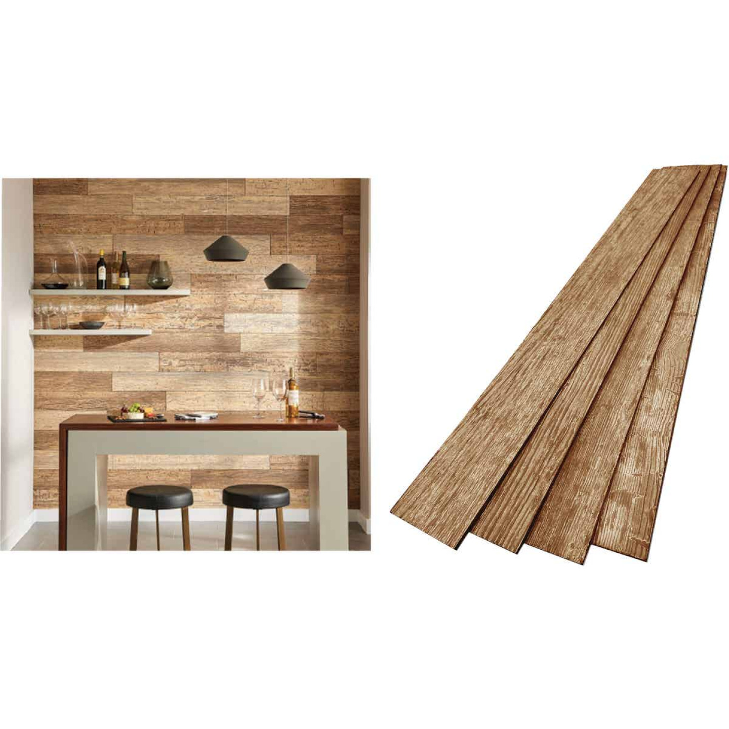DPI 6 In. W. x 48 In. L. x 1/4 In. Thick Espresso Rustic Wall Plank (12-Pack) Image 1