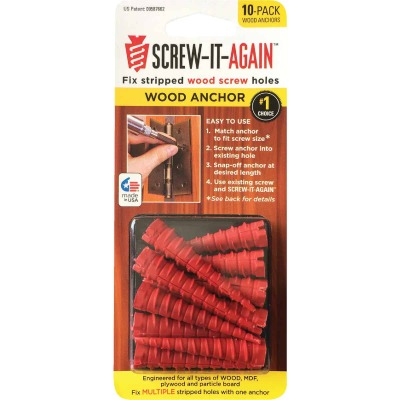 Screw-It-Again #2 to #16 Thread x 2 In. Red Plastic Wood Anchor (10 Ct.)