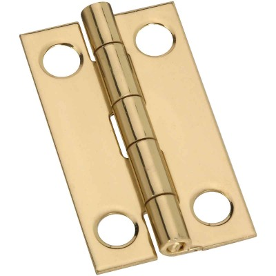 National 7/8 In. x 1-1/2 In. Brass Narrow Decorative Hinge (2-Pack)