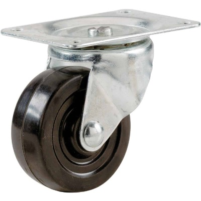 Shepherd 3 In. General-Duty Soft Rubber Swivel Plate Caster