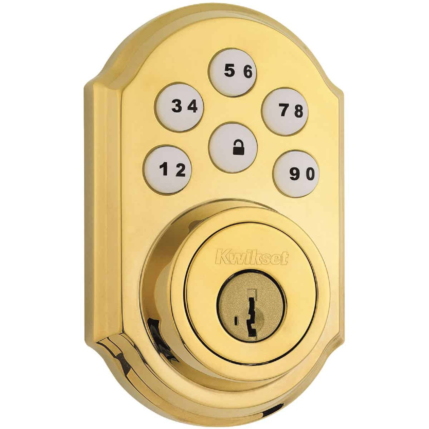 Kwikset Signature Series SmartCode Polished Brass Electronic Deadbolt Image 1