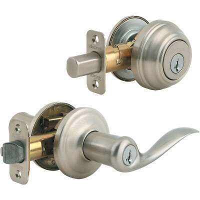 Kwikset Signature Series Satin Nickel Deadbolt and Lever Combo with Smartkey