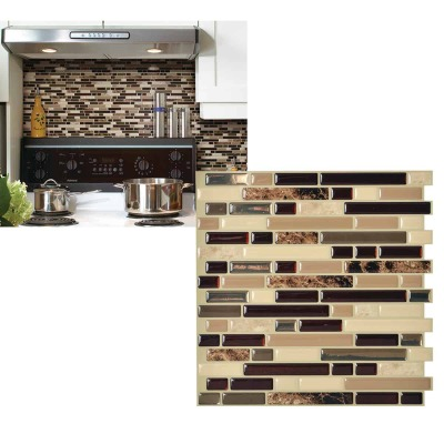 Smart Tiles Approx. 10 In. x 10 In. Glass-Like Vinyl Backsplash Peel & Stick, Bellagio Keystone Mosaic