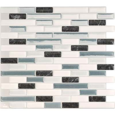 Smart Tiles Approx. 10 In. x 10 In. Glass-Like Vinyl Backsplash Peel & Stick, Muretto Brina Mosaic (4-Pack)