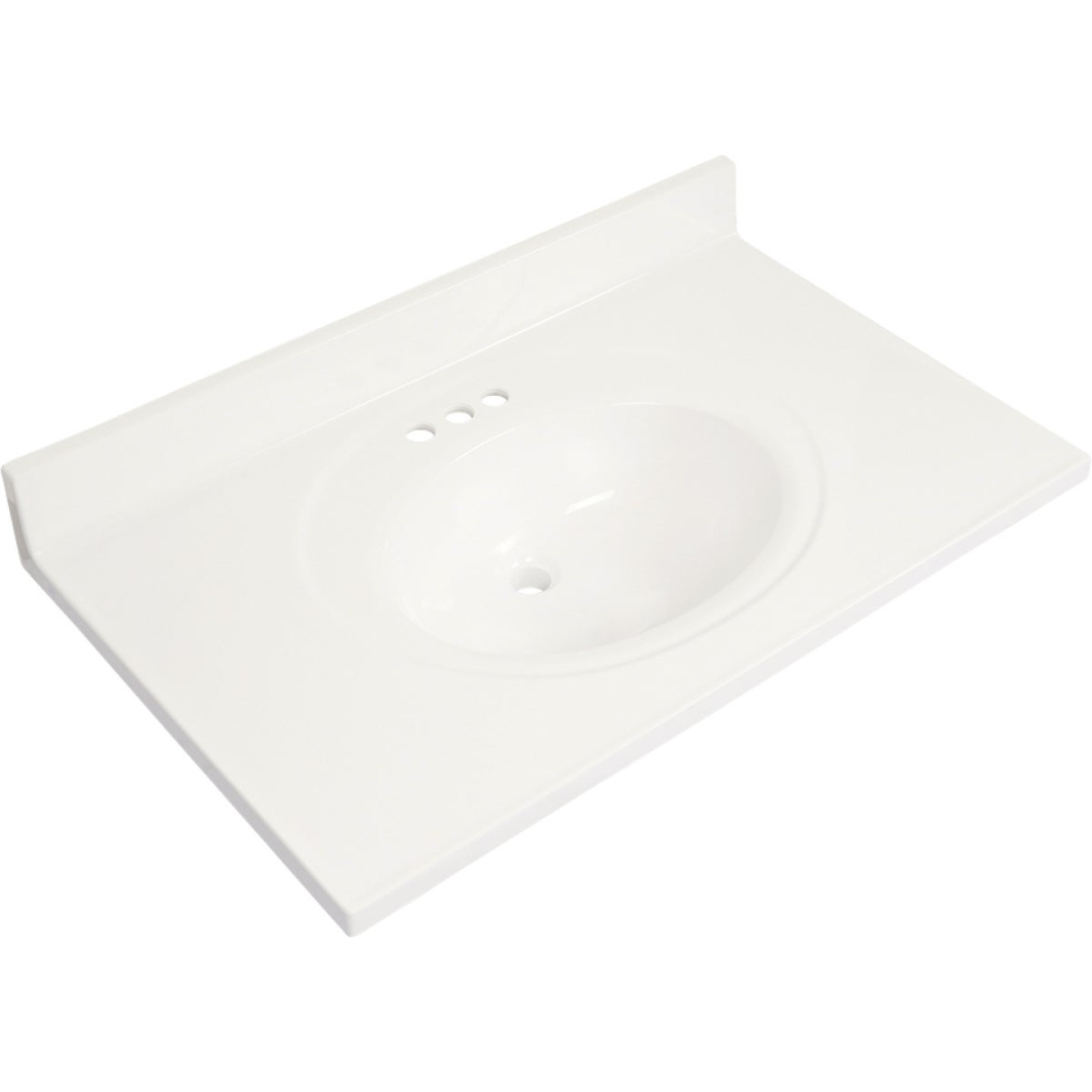 Modular Vanity Tops 37 In. W x 22 In. D Solid White Cultured Marble Flat Edge Vanity Top with Oval Bowl Image 1