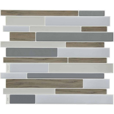 Smart Tiles Approx. 9 In. x 11 In. Glass-Like Vinyl Backsplash Peel & Stick, Milano Argento Mosaic (6-Pack)
