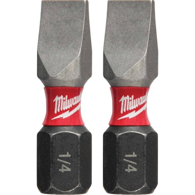 Milwaukee Shockwave #10 Slotted 1 In. Insert Impact Screwdriver Bit (2-Pack)