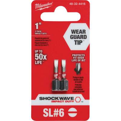 Milwaukee Shockwave #6 Slotted 1 In. Insert Impact Screwdriver Bit (2-Pack)