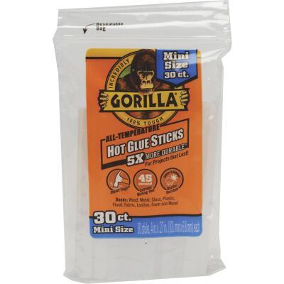 Gorilla 4 In. Mini Clear Hot Melt Glue (30-Pack)