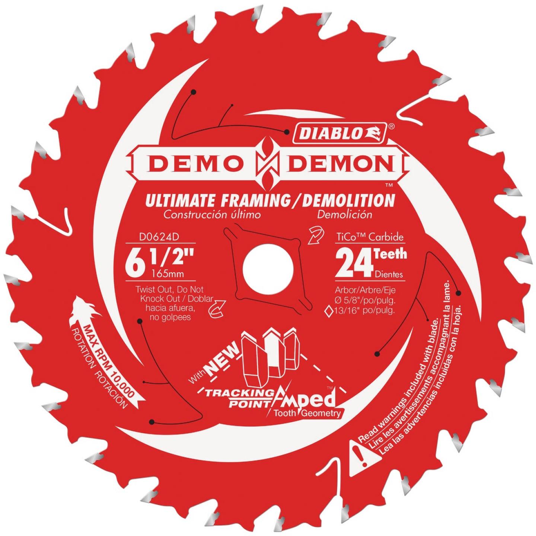 Diablo Demo Demon 6-1/2 In. 24-Tooth Framing/Demolition Circular Saw Blade Image 1