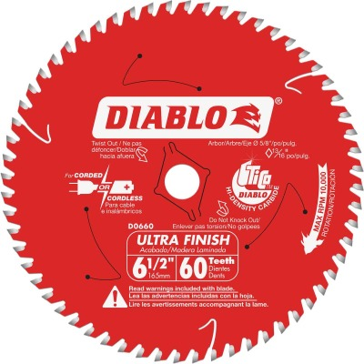 Diablo 6-1/2 In. 60-Tooth Ultra Finish Circular Saw Blade, Bulk