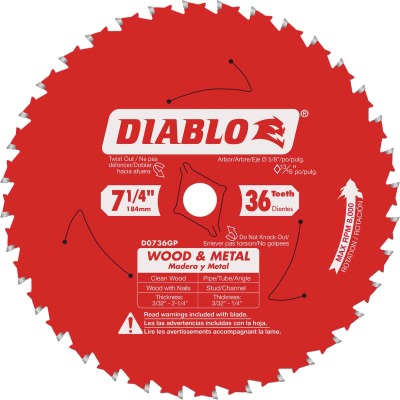 Diablo 7-1/4 In. 36-Tooth Wood & Metal Circular Saw Blade
