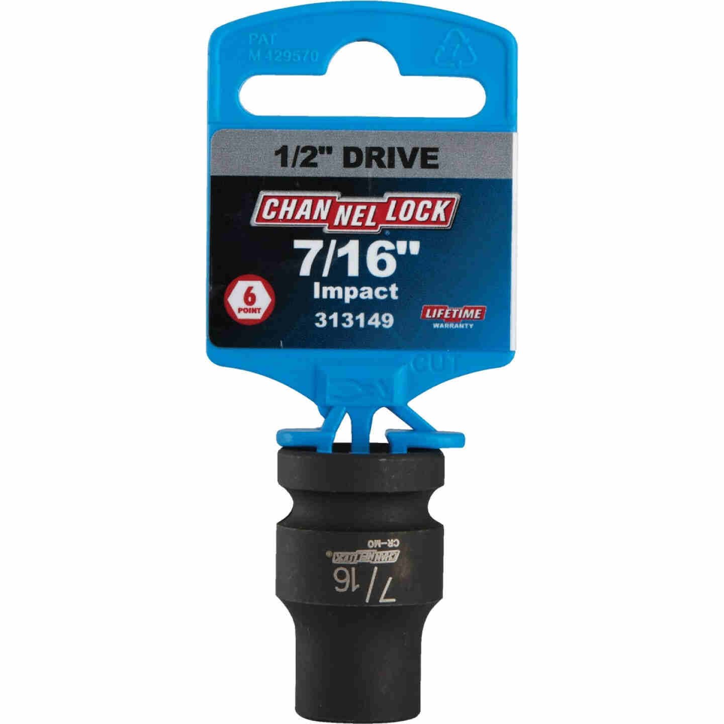 Channellock 1/2 In. Drive 7/16 In. 6-Point Shallow Standard Impact Socket Image 2