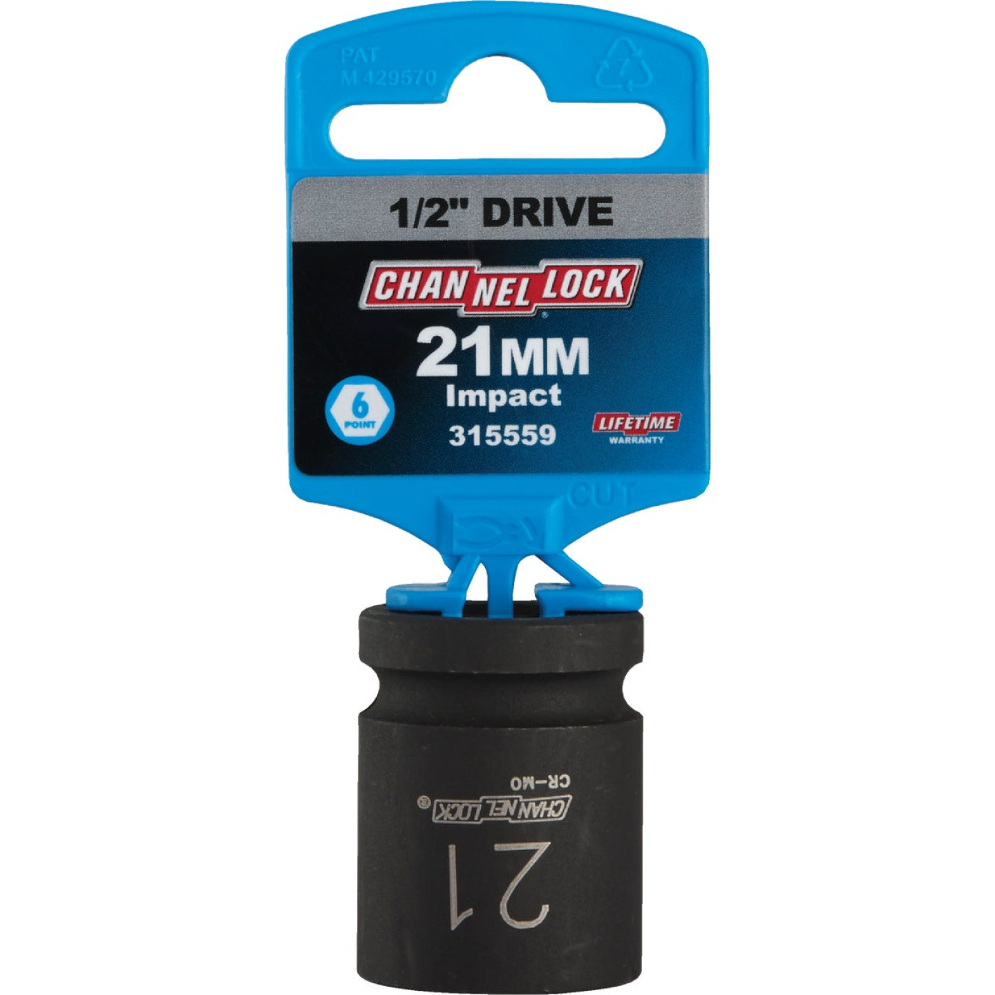 Channellock 1/2 In. Drive 21 mm 6-Point Shallow Metric Impact Socket Image 2