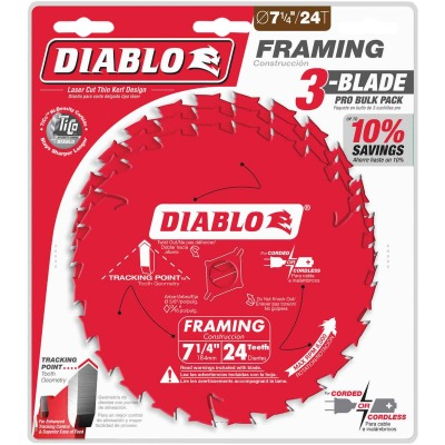 Diablo 7-1/4 In. 24-Tooth Framing Circular Saw Blade (3-Pack)