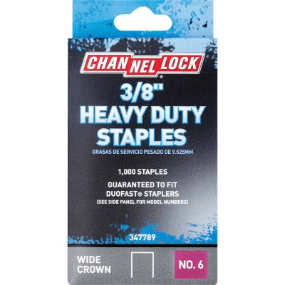 Channellock No. 6 Heavy-Duty Wide Crown Staple, 3/8 In. (1000-Pack)