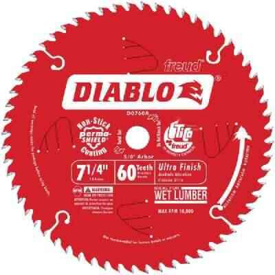 Diablo 7-1/4 In. 60-Tooth Ultra Finish Circular Saw Blade, Bulk