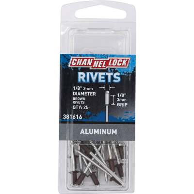 Channellock 1/8 In. Dia. x 1/8 In. Grip Aluminum POP Rivet (25-Pack)