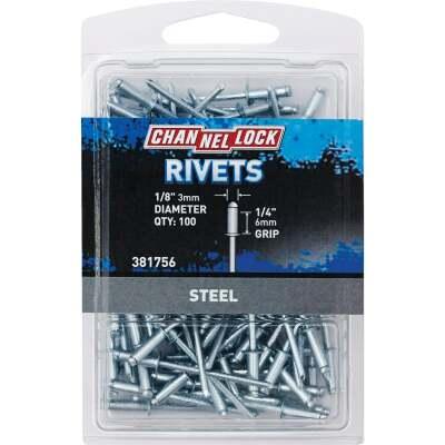Channellock 1/8 In. Dia. x 1/4 In. Grip Steel Multigrip POP Rivet (100-Pack)