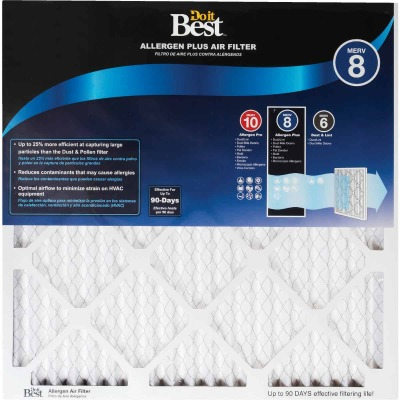 Do it Best 14 In. x 25 In. x 1 In. Allergen Plus MERV 8 Furnace Filter (2-Pack)