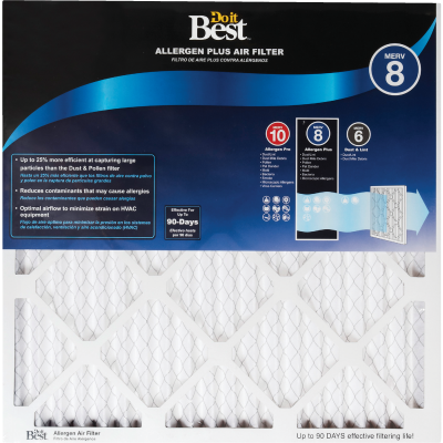Do it Best 16 In. x 20 In. x 1 In. Allergen Plus MERV 8 Furnace Filter (2-Pack)