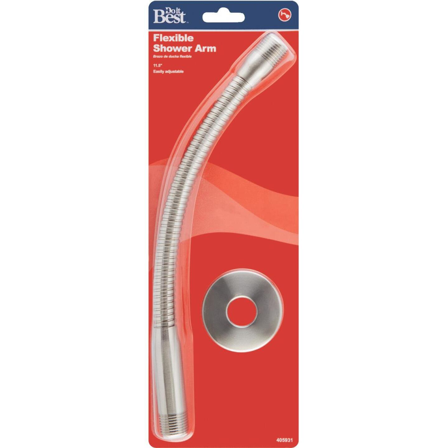 Do it Best 11-1/2 In. Brushed Nickel Flexible Shower Arm with Flange Image 2