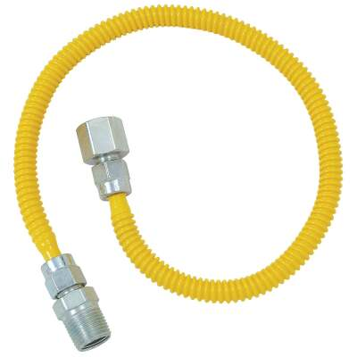 Dormont 3/8 In. OD x 48 In. Coated Stainless Steel Gas Connector, 1/2 In. FIP x 1/2 In. MIP (Tapped 3/8 In. FIP)