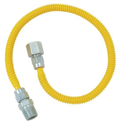 Dormont 3/8 In. OD x 60 In. Coated Stainless Steel Gas Connector, 1/2 In. FIP x 1/2 In. MIP (Tapped 3/8 In. FIP)