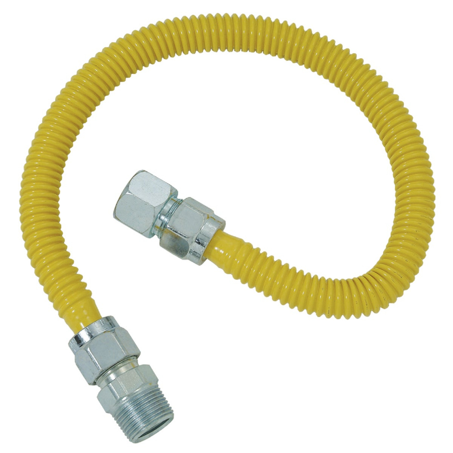 Dormont 5/8 In. OD x 24 In. Coated Stainless Steel Gas Connector, 3/4 In. FIP x 3/4 In. MIP (Tapped 1/2 In. FIP) Image 1