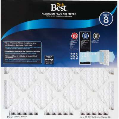 Do it Best 25 In. x 25 In. x 1 In. Allergen Plus MERV 8 Furnace Filter