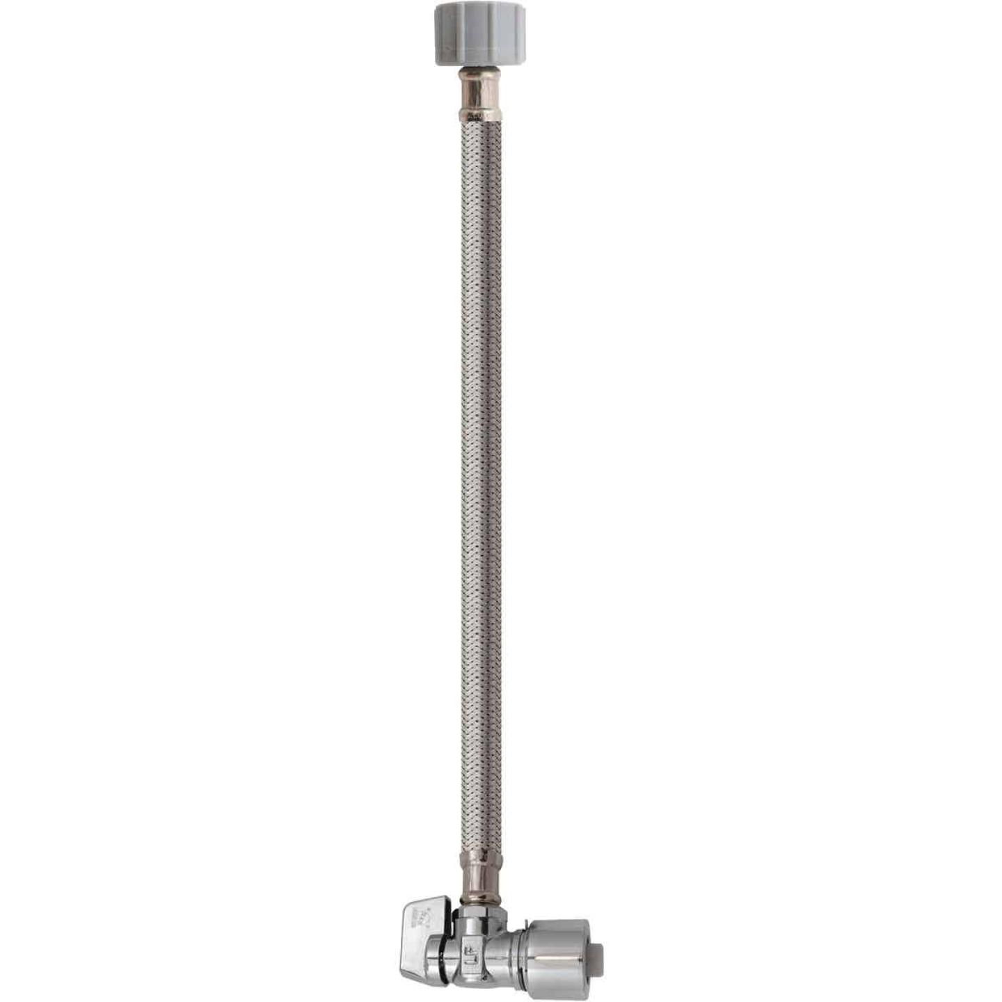 Keeney 5/8 In. x 20 In. Stainless Steel Quick Lock Toilet Supply Tube with Angled Quarter Turn Valve Image 1