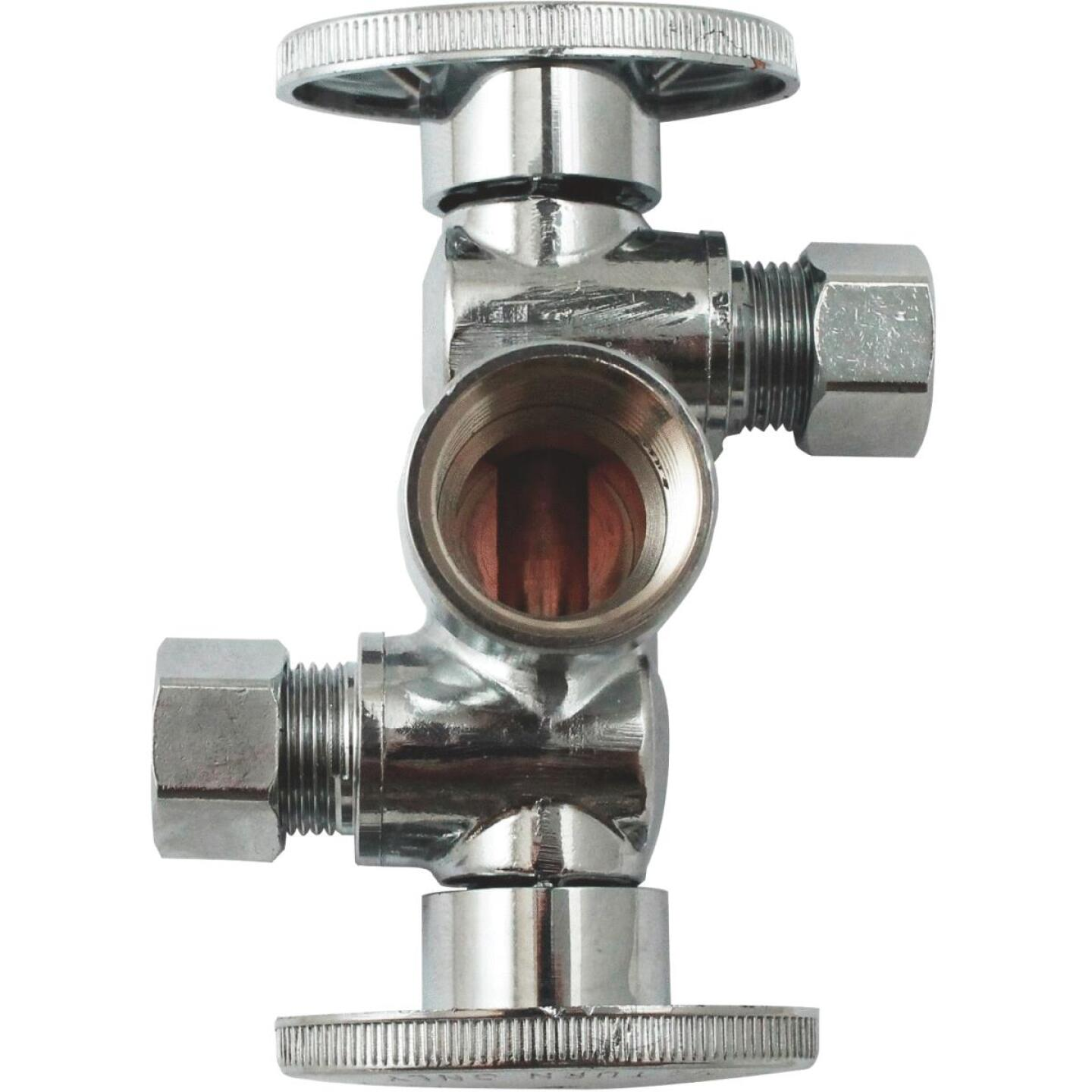 "Keeney 1/2"" FIP x 3/8"" OD x 3/8"" OD Quarter Turn Dual Shut-Off/Dual Outlet Valve Image 1"