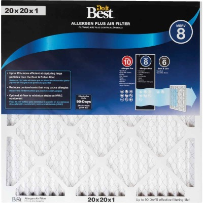 Do it Best 20 In. x 20 In. x 1 In. Allergen Plus MERV 8 Furnace Filter