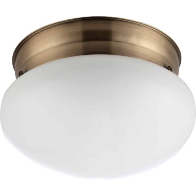Home Impressions 7-1/2 In. Antique Brass Incandescent Flush Mount Ceiling Light Fixture