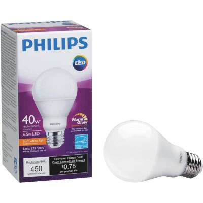 Philips Warm Glow 40W Equivalent Soft White A19 Medium Dimmable LED Light Bulb