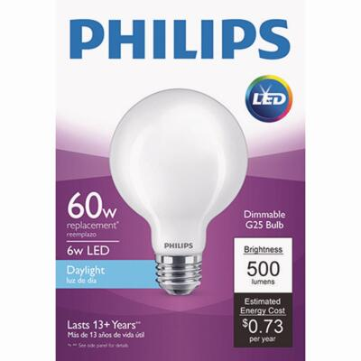 Philips 60W Equivalent Daylight G25 Medium Frosted LED Decorative Light Bulb