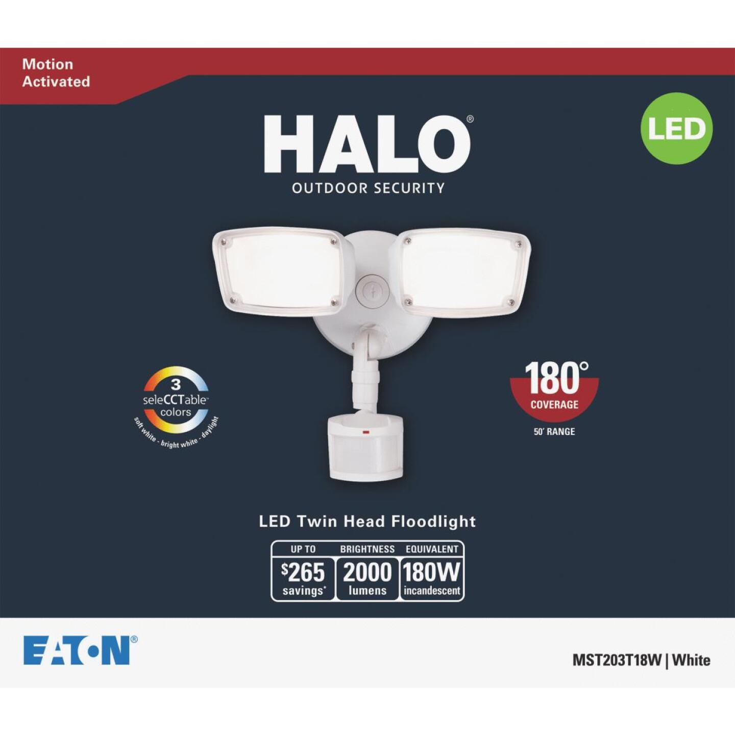 Halo White Motion Sensing LED Twin Head Floodlight Fixture Image 2