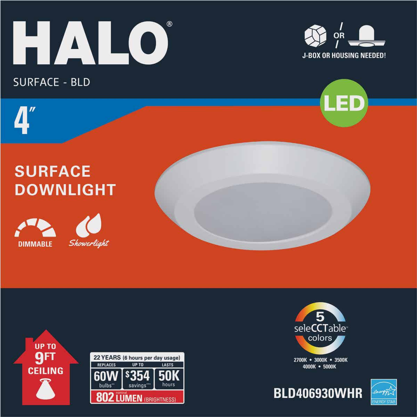 Halo 4 In. Retrofit Selectable Color Temperature Flush Mount LED Recessed Light Fixture, 802 Lm. Image 2
