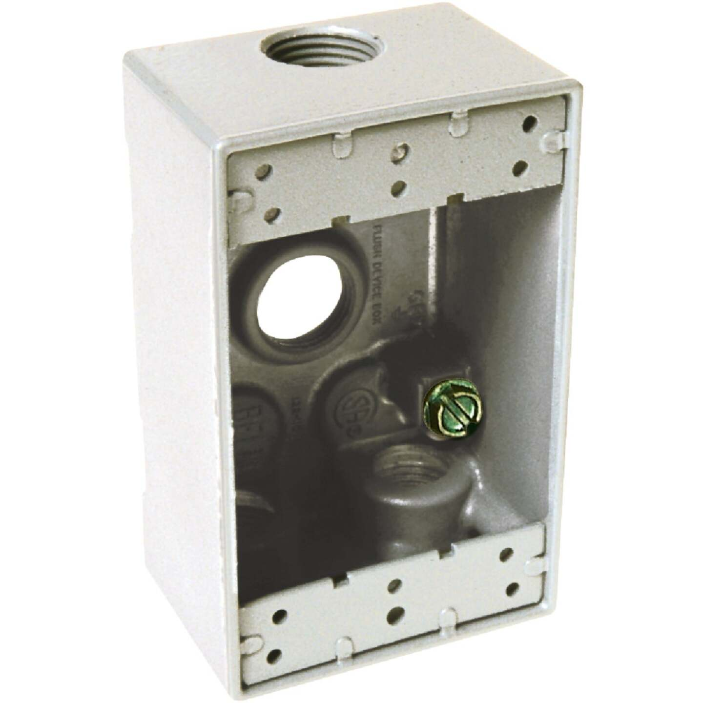 Hubbell Single Gang 1/2 In. 4-Outlet White Aluminum Weatherproof Outdoor Outlet Box Image 1