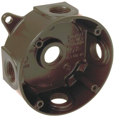 Bell 4 In. 5-Outlet 1/2 In. Bronze Weatherproof Outdoor Round Box, Carded