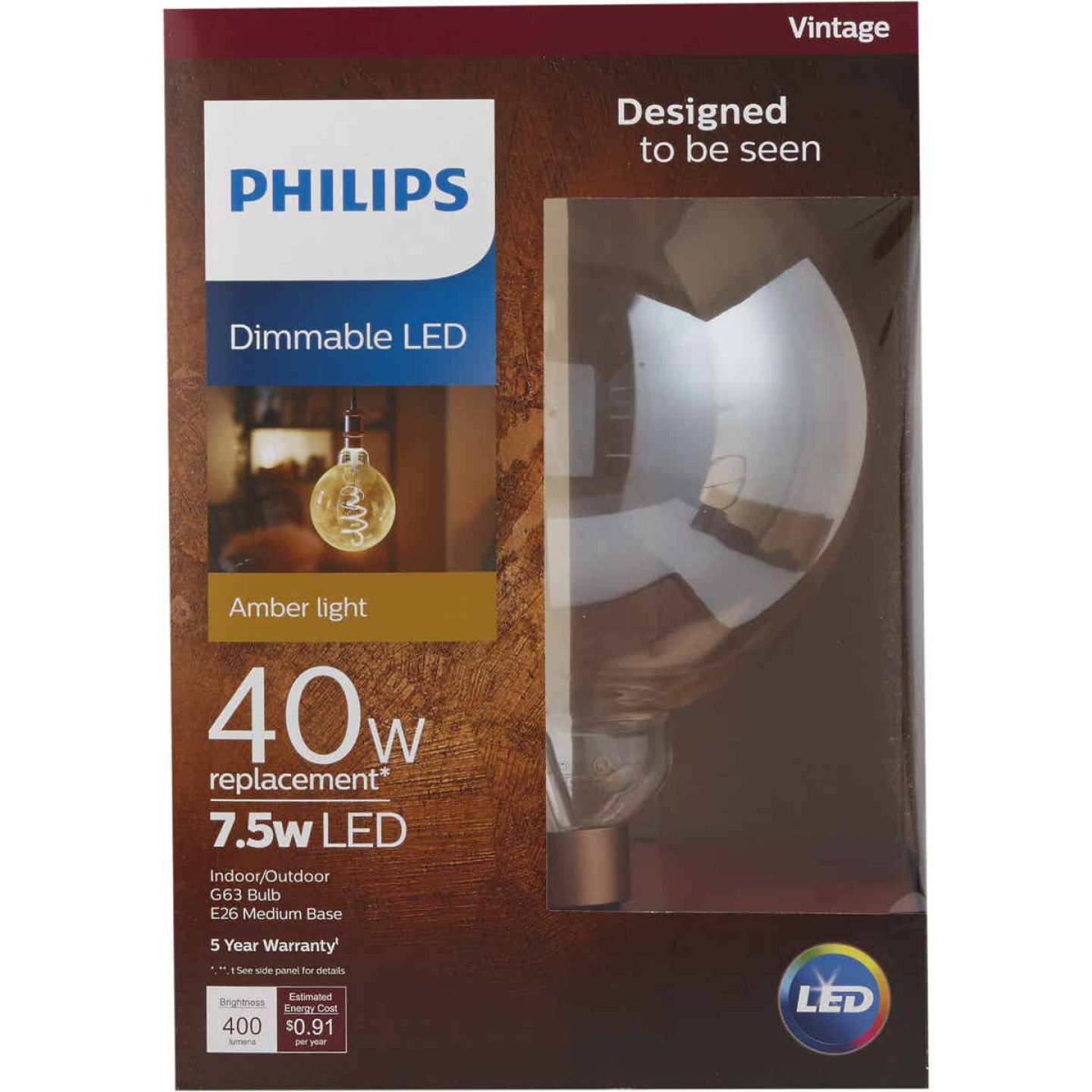 Philips 40W Equivalent Amber G63 Medium Dimmable LED Decorative Light Bulb Image 3